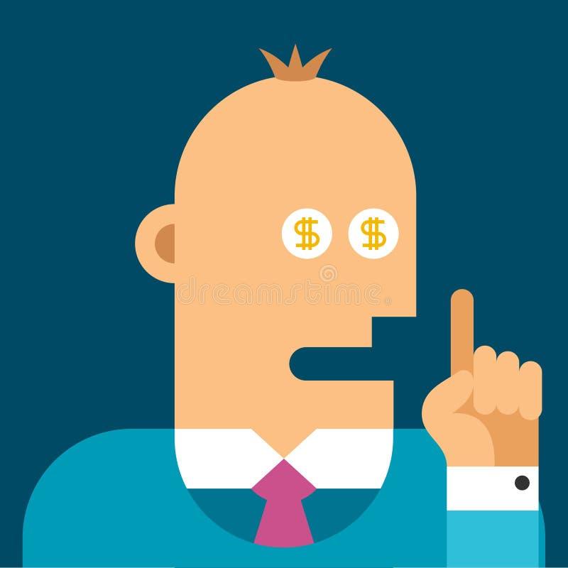 Концепция дела вектора - деньги в глазах иллюстрация штока
