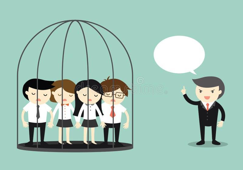 Концепция дела, группа в составе бизнесмены в тюрьме пока снаружи босса стоящее и говорить бесплатная иллюстрация