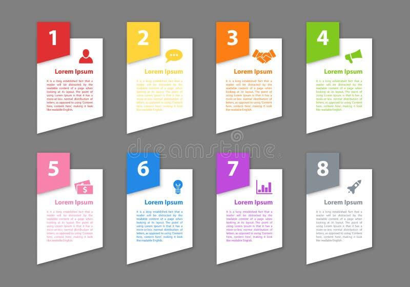 Концепция дела дизайна Infographic с 8 шагами бесплатная иллюстрация