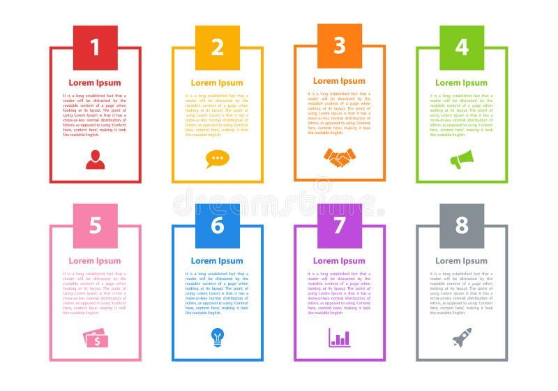 Концепция дела дизайна Infographic с 8 шагами иллюстрация штока