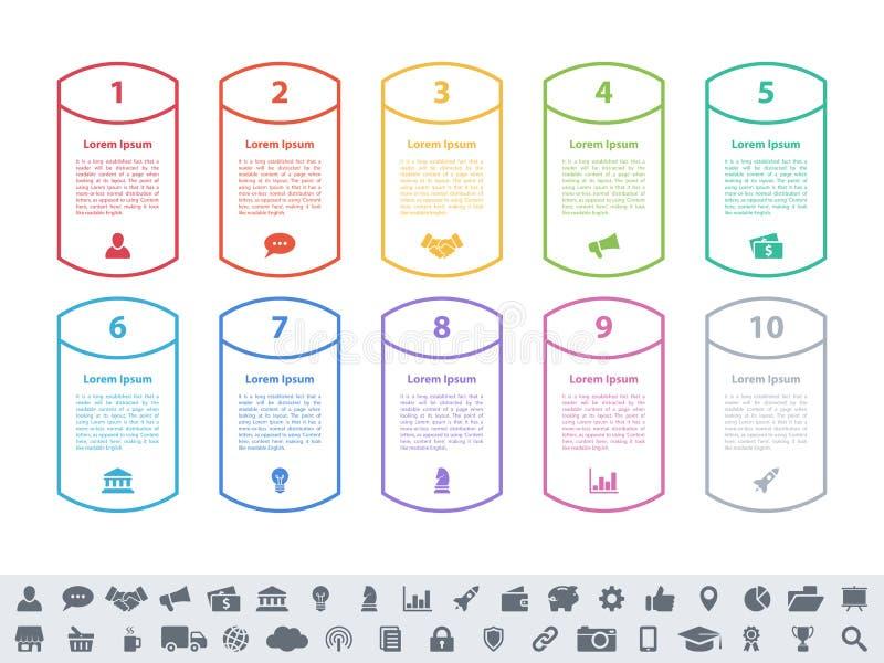 Концепция дела дизайна Infographic с 10 шагами бесплатная иллюстрация