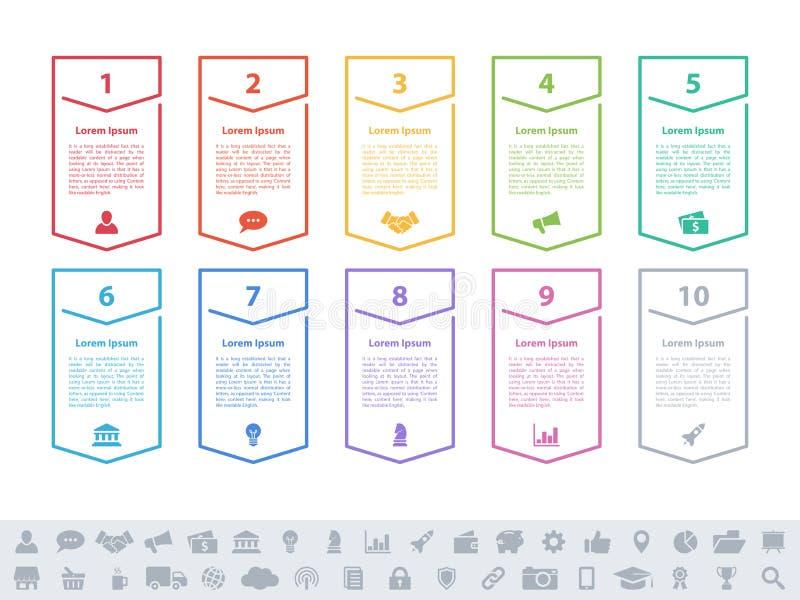 Концепция дела дизайна Infographic с 10 шагами иллюстрация штока