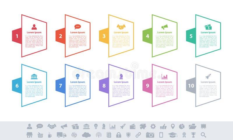 Концепция дела дизайна Infographic с 10 шагами иллюстрация вектора