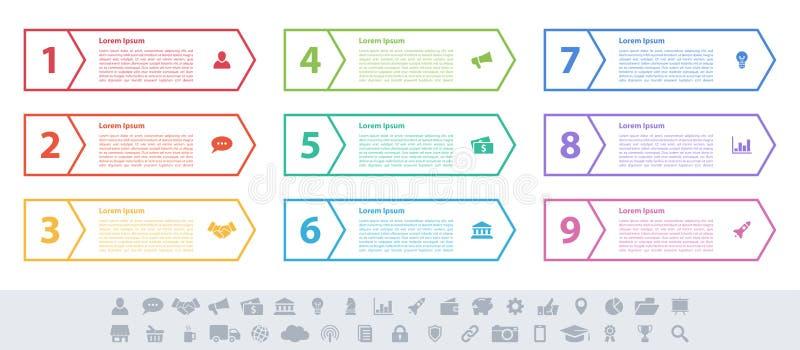 Концепция дела дизайна Infographic с 9 шагами иллюстрация штока