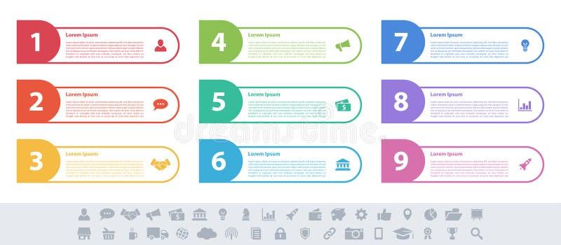 Концепция дела дизайна Infographic с 9 шагами бесплатная иллюстрация