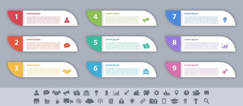 Концепция дела дизайна Infographic с 9 шагами иллюстрация вектора