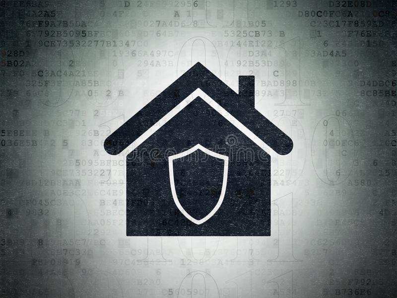 Концепция дела: Дом на предпосылке бумаги цифровых данных стоковое изображение