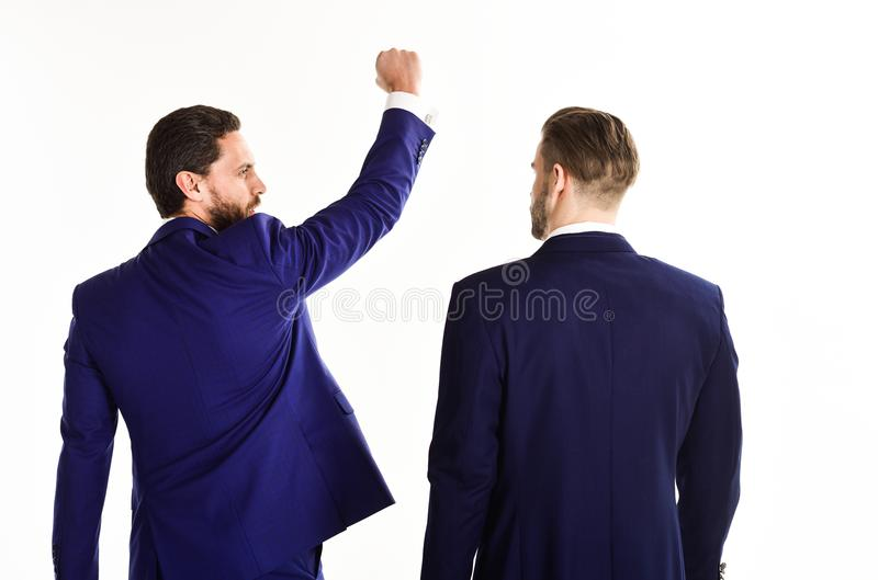 Концепция дела и успеха Человек в костюме или победитель стоковое изображение rf