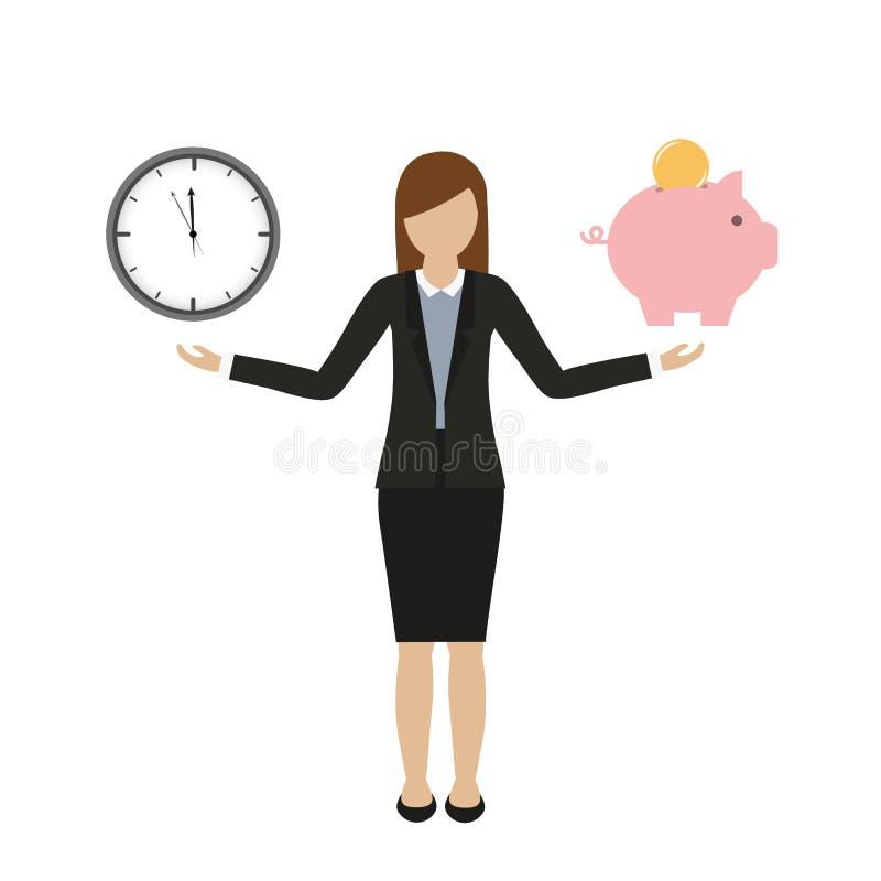 Концепция дела о времени и характере бизнес-леди денег иллюстрация вектора