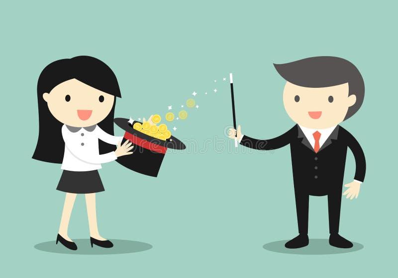 Концепция дела, польза бизнесмена его магические силы зарабатывает деньги от шляпы иллюстрация штока