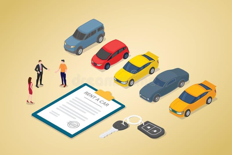 Концепция дела проката автомобилей с различными автомобилями моделирует и бумажный контракт с людьми команды с современным равнов иллюстрация штока