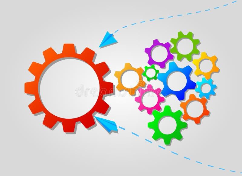 Концепция дела сыгранности с красочными значками шестерней и бумажными самолетами Идея партнерства и сотрудничества иллюстрация штока