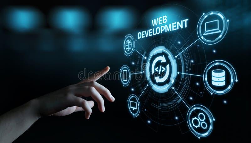 Концепция дела технологии интернета кодирвоания развития сети программируя стоковое изображение rf
