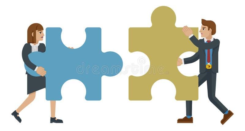 Концепция дела характеров зигзага части головоломки иллюстрация вектора