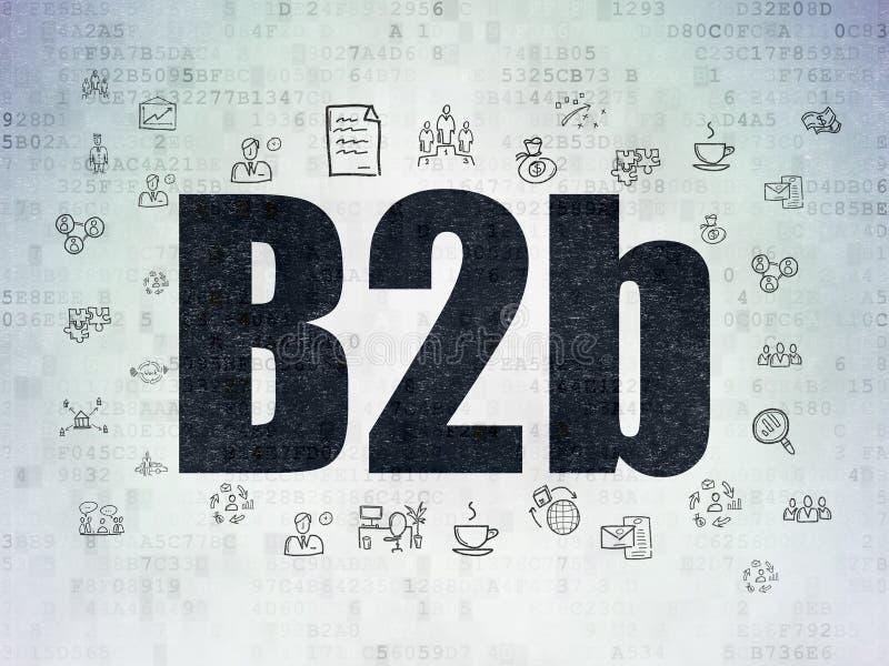 Концепция дела: B2b на предпосылке бумаги цифровых данных иллюстрация вектора