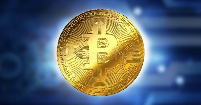 Концепция дела Bitcoin Cryptocurrency цифровой сдержанная, технология данным по компьютера нововведения, предпосылка будущего Cry бесплатная иллюстрация