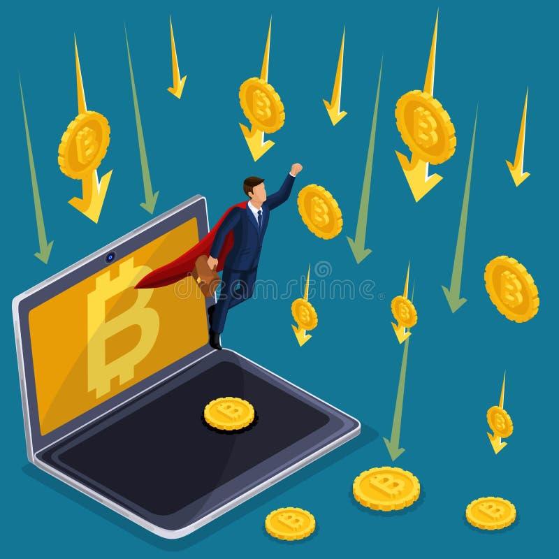 Концепция дела Isometrics, секретная валюта, падения bitcoin, запас и падение вклада Технический отказ, супермен бизнесмена бесплатная иллюстрация