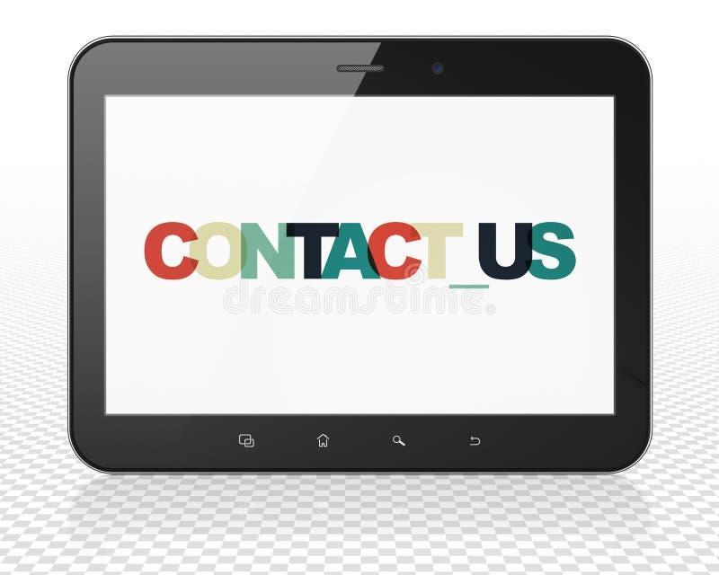 Концепция дела: Tablet компьютер ПК с контактом мы на дисплее иллюстрация вектора