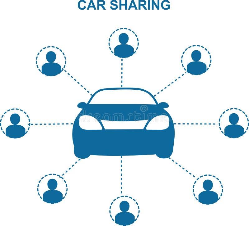Концепция делить автомобиля иллюстрация вектора