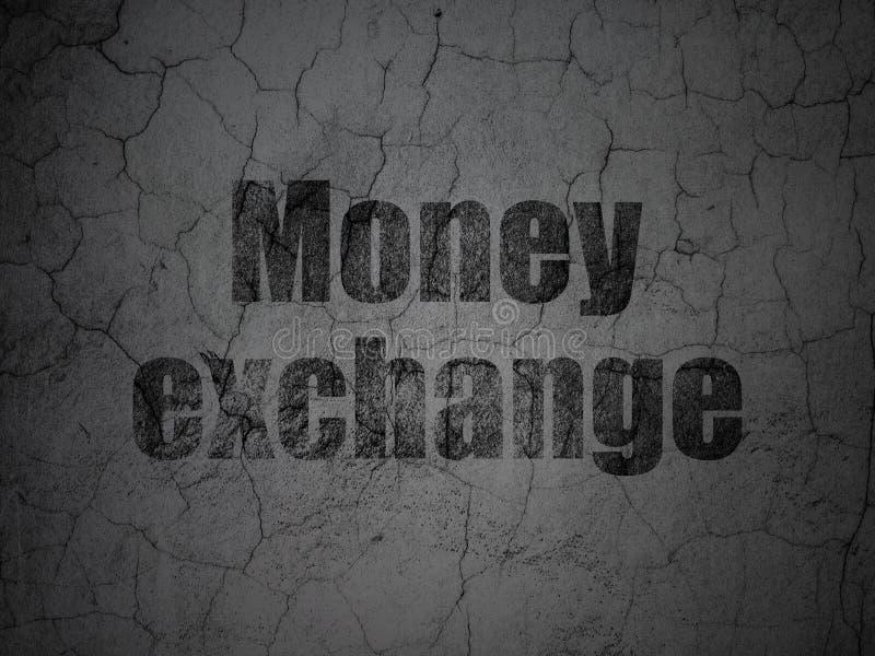 Концепция денег: Обмен денег на предпосылке стены grunge иллюстрация штока