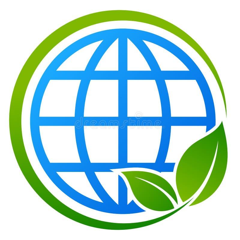 Концепция дерева глобуса голубая и зеленая eco иллюстрация штока