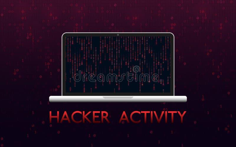 Концепция деятельности при хакера Прорубленный ноутбук на красной бинарной предпосылке Дизайн Malware с фоном матрицы Минировать  бесплатная иллюстрация