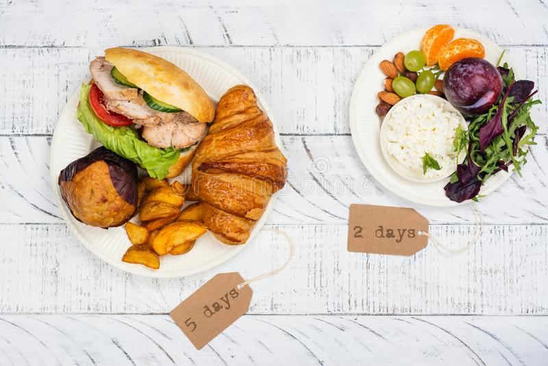 концепция диеты 5:2 голодая стоковое изображение