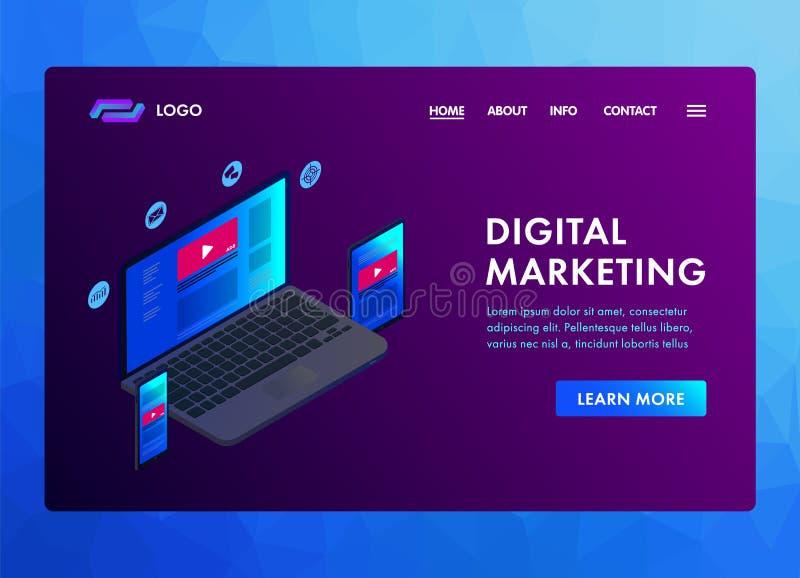 Концепция дизайна 3D маркетинга цифров современная плоская равновеликая для знамени, и заголовок вебсайта r бесплатная иллюстрация