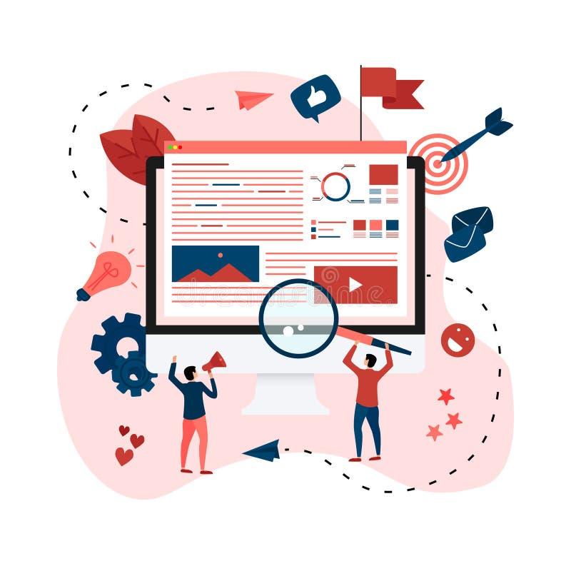 Концепция для агенства цифров выходя на рынок, цифровые средства массовой информации агитирует плоская иллюстрация вектора иллюстрация штока