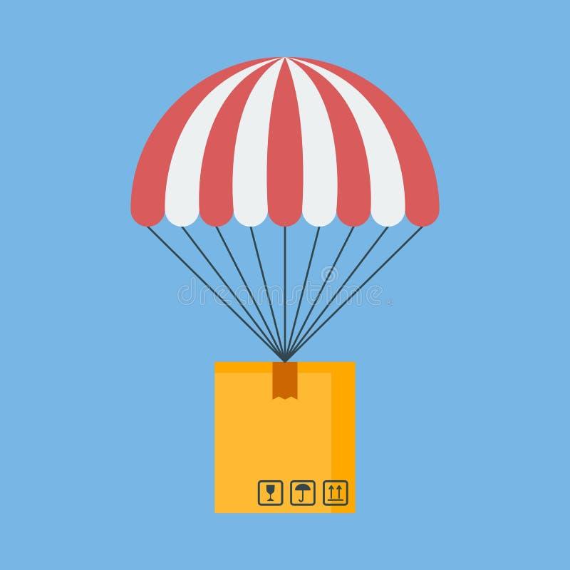 Концепция для обслуживания поставки Пакет летая вниз от неба иллюстрация вектора