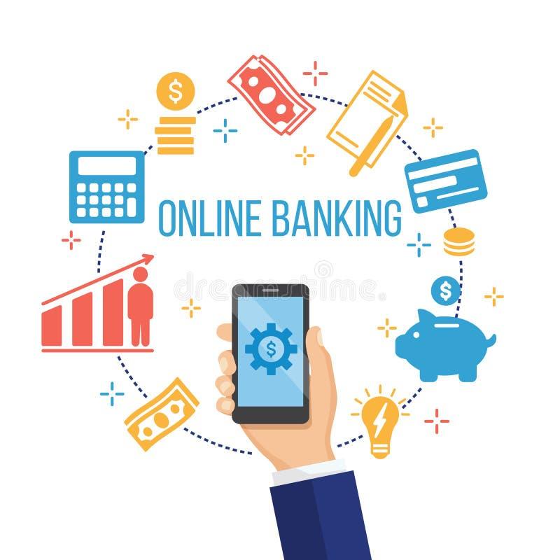 Концепция для передвижного банка и онлайн оплаты иллюстрация вектора