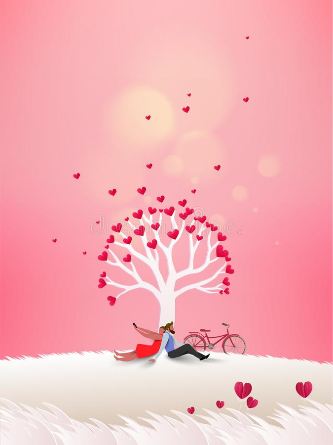 Концепция дня валентинки, пары под деревом влюбленности весной иллюстрация вектора