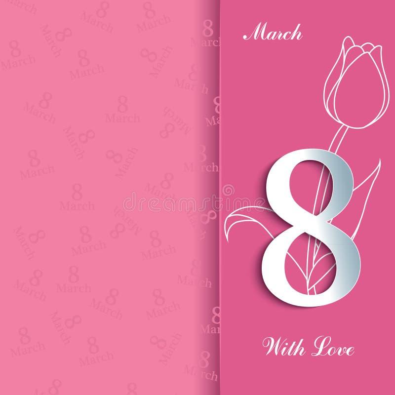Концепция дня 8-ое марта счастливая женская поздравительной открытки иллюстрация штока