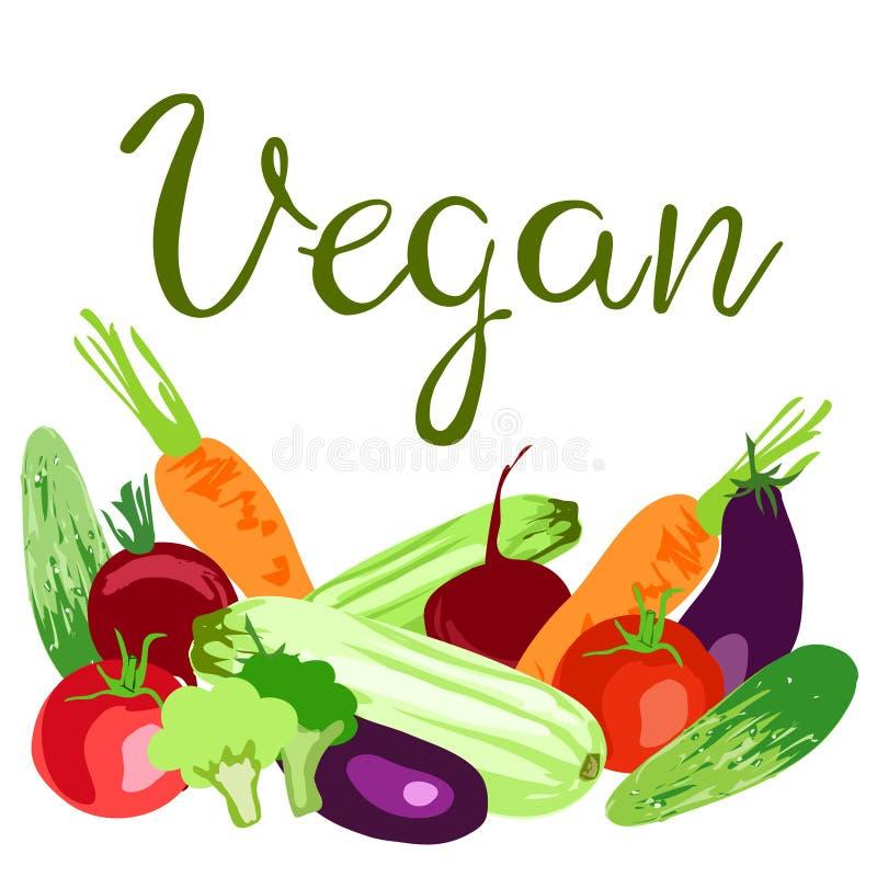 Концепция дня Vegan мира иллюстрация штока