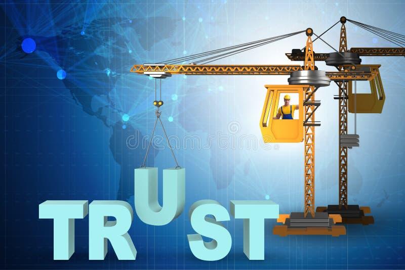 Концепция доверия с краном и словами бесплатная иллюстрация