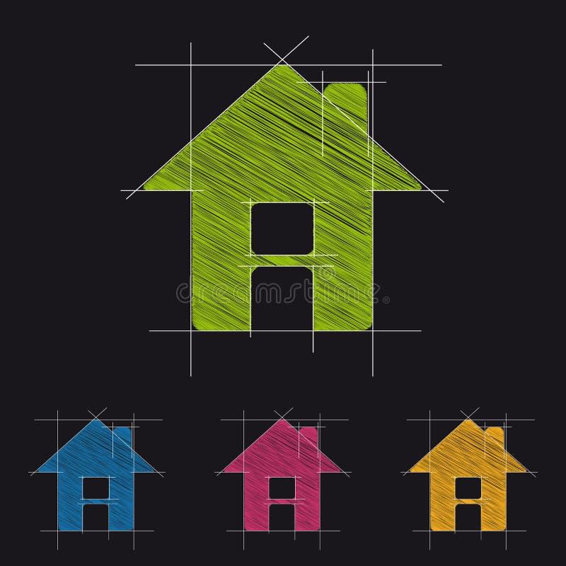 Концепция дома архитектуры - красочный логотип вектора чертежа - изолированная на черноте иллюстрация вектора