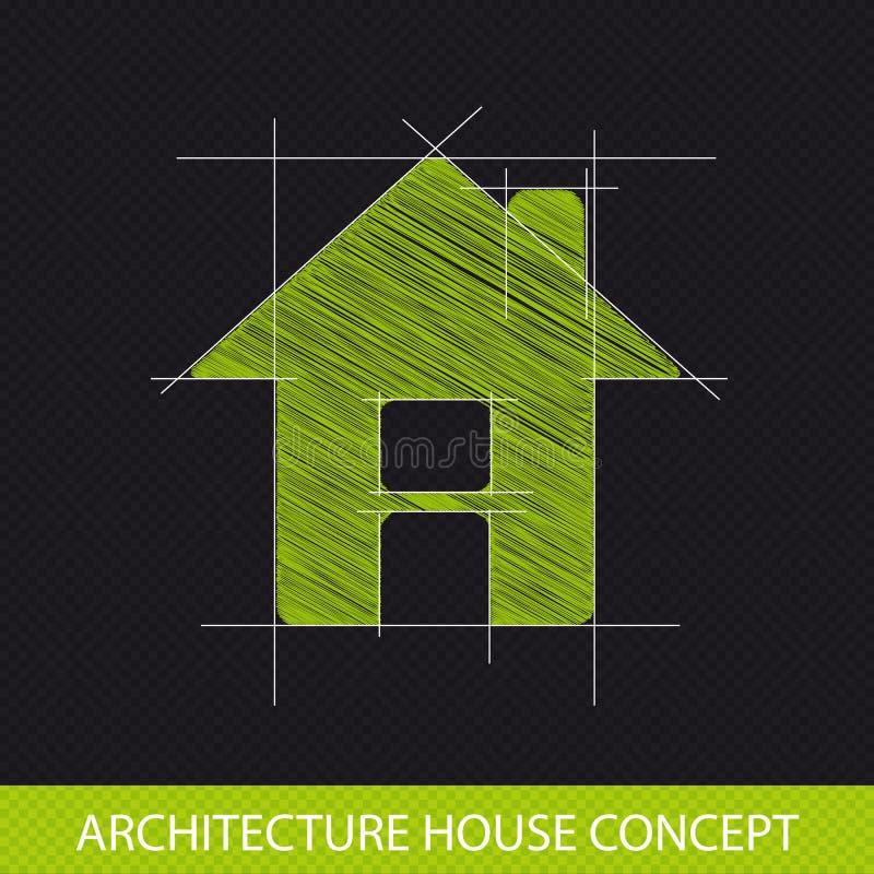 Концепция дома архитектуры - логотип вектора чертежа - прозрачный b иллюстрация вектора