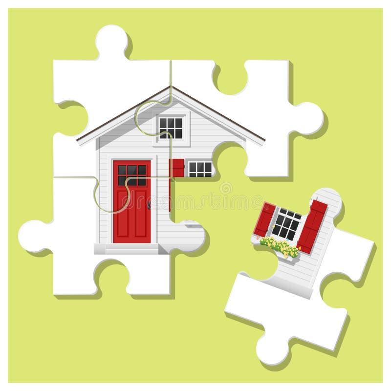 Концепция дома мечты с домом головоломки и последняя часть для достигаемости цель иллюстрация вектора