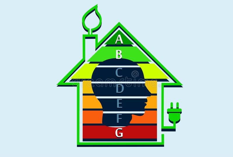Концепция дома энергии эффективная с диаграммой классификации внутрь иллюстрация штока