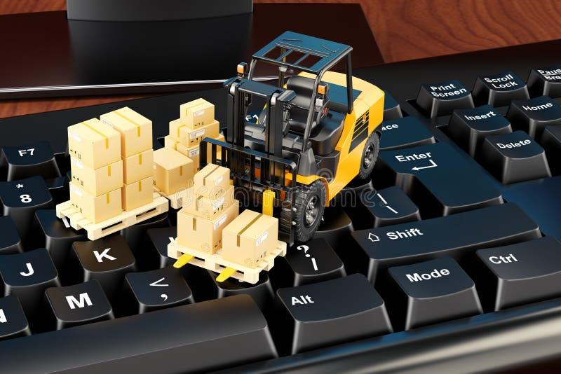Концепция доставки и снабжения Клавиатура компьютера с пакетами a иллюстрация штока
