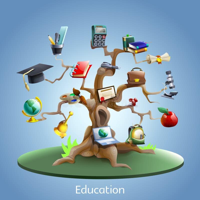 Концепция дерева образования иллюстрация вектора