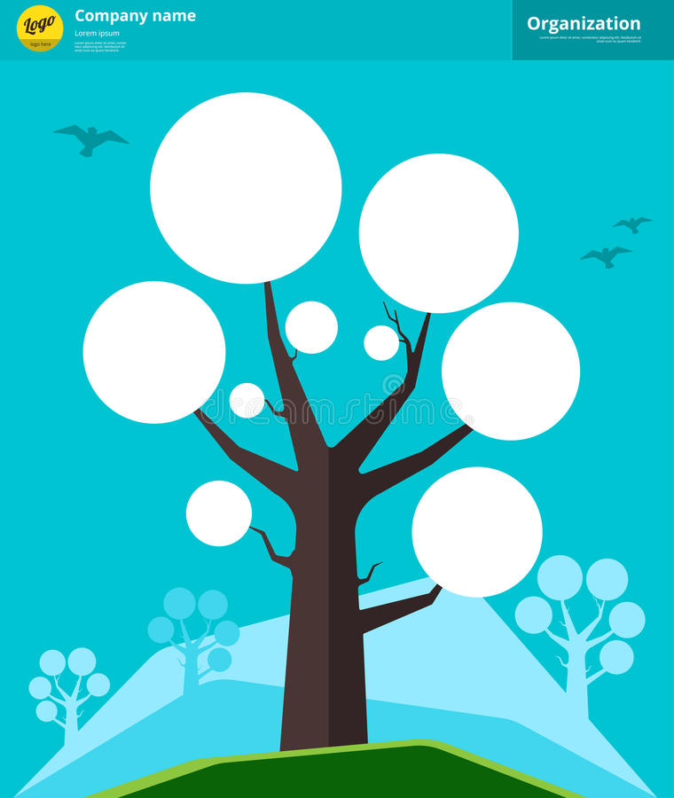 Концепция дерева организационной схемы также вектор иллюстрации притяжки corel иллюстрация вектора