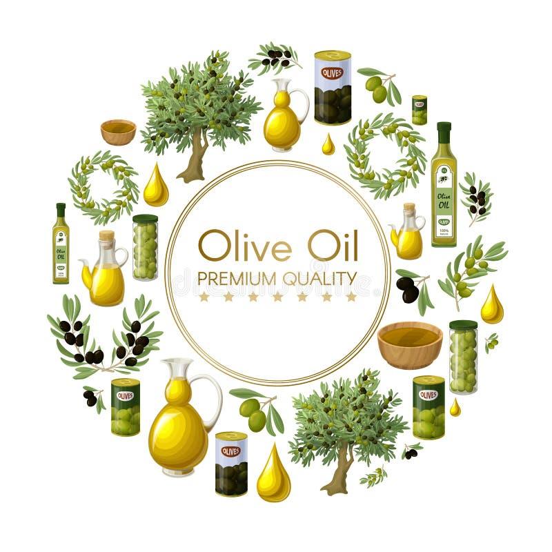 Концепция естественного оливкового масла шаржа круглая иллюстрация вектора