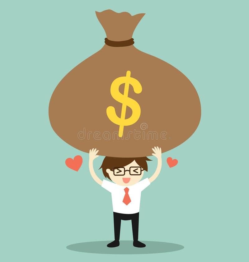 Концепция дела, бизнесмен чувствуя счастливый с большой сумкой денег также вектор иллюстрации притяжки corel бесплатная иллюстрация
