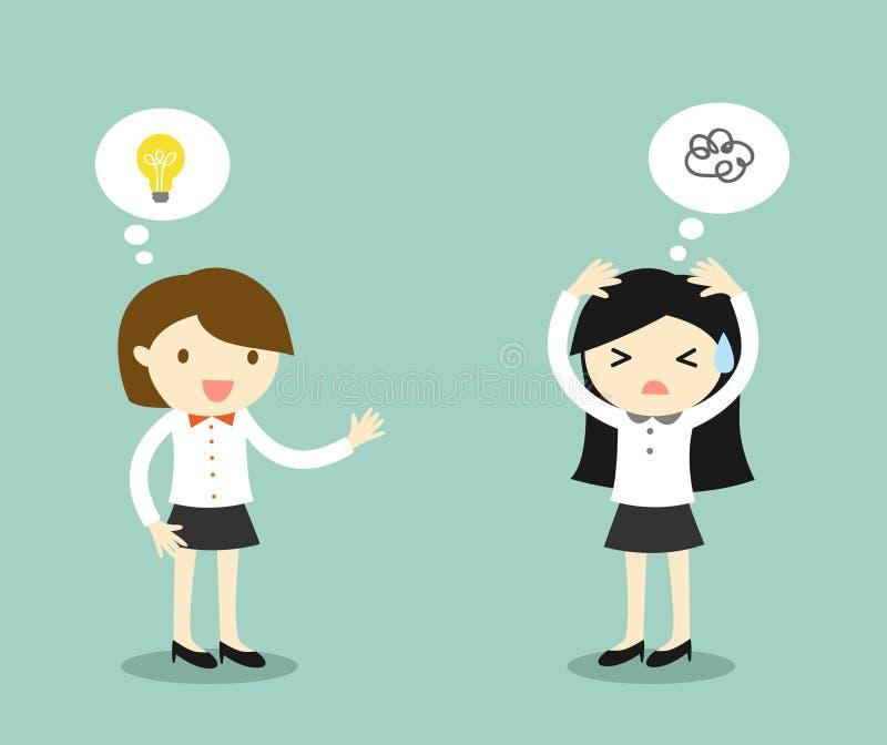 Концепция дела, бизнес-леди имеет идею но другая бизнес-леди вставлена для идеи иллюстрация вектора