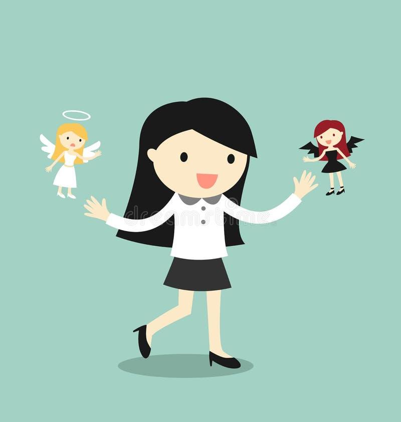 Концепция дела, бизнес-леди с ангелом и дьявол иллюстрация вектора
