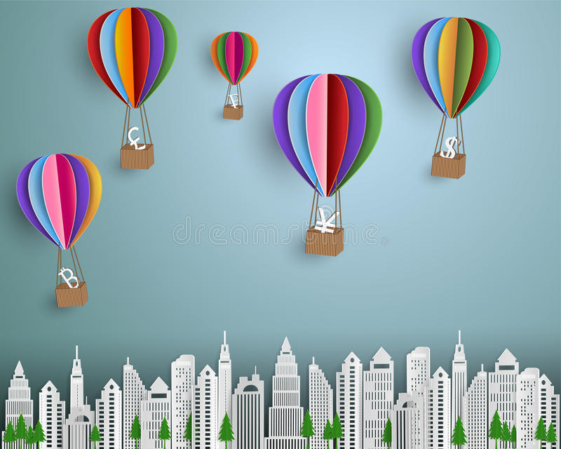 Концепция дела и финансов, группа в составе знак валюты при красочный горячий воздушный шар плавая на город бесплатная иллюстрация