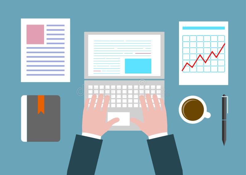 Концепция дела настольный компьютер на стиле офиса плоском бесплатная иллюстрация