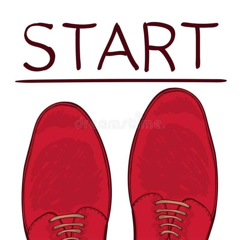Концепция дела начиная черту Ноги в мужских ботинках на дороге выбор делает вектор бесплатная иллюстрация