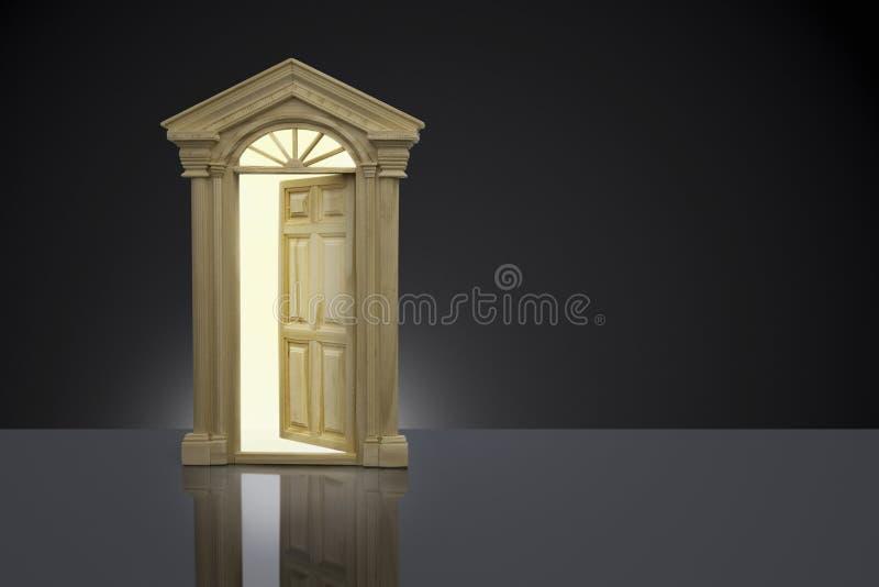 Концепция дела, немножко открыть дверь иллюстрация штока